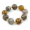 Chunky Wood Bead Flex Bracelet (Metallic Silver/ Glitter Gold) - 19cm L