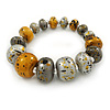 Glitter Gold/ Metallic Silver/ Black Graduated Wooden Bead Flex Bracelet - 19cm L