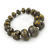 Grey/ Black/ Gold Graduated Wooden Bead Flex Bracelet - 19cm L
