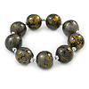 Chunky Wood Bead Flex Bracelet (Grey/ Black/ Gold) - 19cm L
