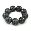 Black/ Grey Chunky Wood Bead Flex Bracelet - 18cm L