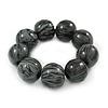 Black/ Grey Chunky Wood Bead Flex Bracelet - 18cm L