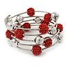 Dusty Red Glass Bead, Silver Tone Ball Multistrand Flex Bracelet - Medium