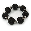 Chunky Black Glass Bead Ball Stretch Bracelet - 19cm L