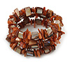 Burnt Orange Sea Shell Nugget Multistrand Flex Bracelet - Adjustable