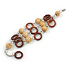 3 Strand Brown Wood Bead and Loop Bracelet In Silver Tone Metal - 21cm L/ 5cm Ext