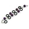 2 Row Purple Round Wood Bead, Black Wood Ring Bracelet in Silver Tone Metal - 20cm L/ 5cm Ext