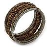 Multistrand Brown Wood, Grey Glass Bead Flex Bracelet - 18cm L