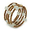 Bronze/ Transparent Glass Bead Coiled Flex Bracelet - 17cm L