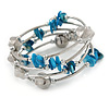 Light Blue Shell Nugget, Silver Tone Acrylic Bead Multistrand Flex Bracelet - 17cm L