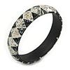 Grey/ White Mosaic Shell Component Resin Bangle Bracelet - 18cm L/ Medium