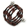 Brown/ Black Ceramic and Glass Bead Coiled Flex Bracelet - 18cm L