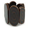 Oval Station Brown/ Black Acrylic Flex Bracelet - 17cm L