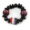 Black, Purple Wood and Resin Bead Stretch Bracelet - 16cm L - For Smaller Wrists