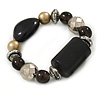 Gold/ Black/ Silver Beaded Flex Bracelet - 17cm L (for small wrist)