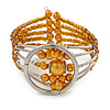 Gold Orange Acrylic Bead Wristwatch Style Flex Cuff Bracelet - 19cm L