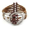 Brown Bronze Acrylic Bead Wristwatch Style Flex Cuff Bracelet - 19cm L