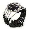 Black Acrylic Bead Wristwatch Style Flex Cuff Bracelet - 19cm L