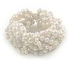 Wide Chunky White Acrylic Bead Multistrand Plaited Bracelet - 19cm L - Large