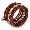 Brown/ Gold/ Burgundy Wood, Acrylic Bead Coiled Flex Bracelet - 19cm L