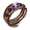 Glass Bead, Faux Pearl Coiled Flex Bracelet (Purple, Plum, Brown) - 18cm L