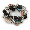 Blue/ Natural Sea Shell Black Acrylic Bead with Silver Tone Metal Links Flex Bracelet - 17cm L