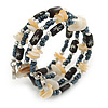 Multistrand Coiled Glass/ Bone Bead, Shell Nugget Flex Bracelet (Hematite, Natural, Black) - 17cm L