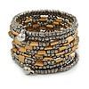 Wide Silver Grey/ Gold Glass/ Acrylic Bead Coiled Flex Bracelet - 18cm L