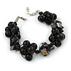 Black Shell Nugget, Ceramic Bead Cluster Bracelet - 16cm L/ 3cm Ext - For Smaller Wrists