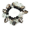 Black, White, Grey Ceramic, Glass Bead Sea Shell Charm Flex Bracelet - 17cm L