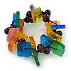 Multicoloured Square Acrylic Bead Flex Bracelet - 18cm L