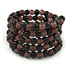 Black/ Plum Glass Bead Multistrand Flex Bracelet - Adjustable
