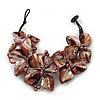 Brown Shell Floral Bracelet - 17cm L
