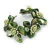 Stunning Green Shell, Faux Pearl Bead Floral Flex Cuff Bracelet - 18cm L