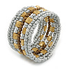 Light Grey, Brown, Gold Acrylic Glass Bead Multistrand Coiled Flex Bracelet - Adjustable