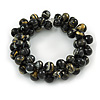 Black/ Gold Wood Bead Cluster Flex Bracelet - 18cm L