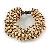 Multistrand Natural/ Bronze Wood Bead Flex Bracelet - 17cm L