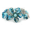 Blue Sea Shell, Faux Pearl Bead Floral Cuff Bracelet In Silver Tone - Adjustable