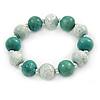 Green/ White Cracked Effect Wood Bead Flex Bracelet - 19cm L