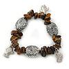 Brown Semiprecious Stone Charm Bracelet In Silver Tone - 19cm L