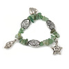 Light Green Glass Bead Charm Bracelet In Silver Tone - 20cm L - Large