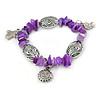 Amethyst Glass Bead Charm Bracelet In Silver Tone - 20cm L - Large
