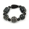 Chunky Dark Grey Resin Bead Flex Bracelet - 17cm L