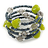 Peacock/ Grey Glass Bead Olive Green Glass Nugget Multistrand Coiled Flex Bracelet - Adjustable