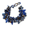 Blue/ Brown Stone, Glass, Shell Cluster Bead Bracelet - 17cm L