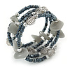 Peacock Glass Bead Light Grey Glass Nugget Multistrand Coiled Flex Bracelet - Adjustable