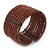 Wide Multistrand Brown Glass Bead Flex Cuff Bracelet - 18cm L