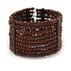 Wide Multistrand Brown Glass Bead Flex Cuff Bracelet - 17cm L