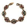 Vintage Inspired Turkish Style Floral Bracelet In Bronze Tone (Green/ Burgundy Red) - 17cm L