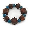 Brown Wood, Teal Ceramic Beads Flex Bracelet - 18cm L